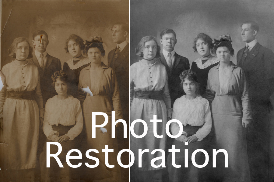 photo restoration button. This an example of a photograph restored by Brian Charles Steel Photography.  It is an old group portrait of six people.  There are four women and two men.  In the front, is one woman wearing a white blouse and dark skirt.  She has her hair up, and her hands are folded neatly in her lap.  Standing behind her on the left side, is a woman in a light colored dress.  Her hands are down by her sides.  The top front of her dress has buttons.  Behind her to the right is a man in a suit and tie.  Next to him on his right, is a woman in a dark dress with a white collar.  To her right is a man in a suit and tie.  In front of him, is a woman in a dress with a hat.