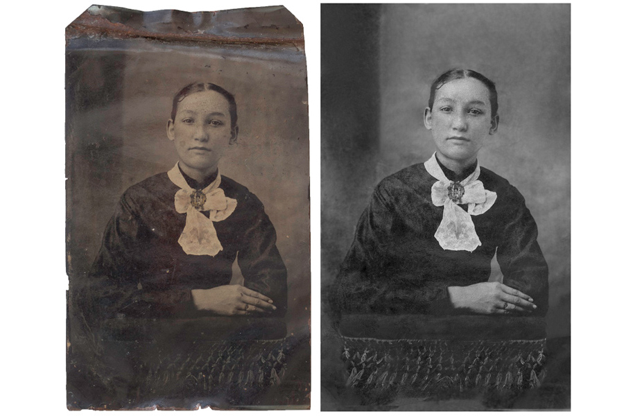 This an example of a photograph restored by Brian Charles Steel Photography that depicts a woman in a formal dress.  This is an old photograph made of tin.  She is wearing a scarf and a broach.  Her arms are crossed on top of a stool.  She has tired expression on her face, and her hair is pulled back