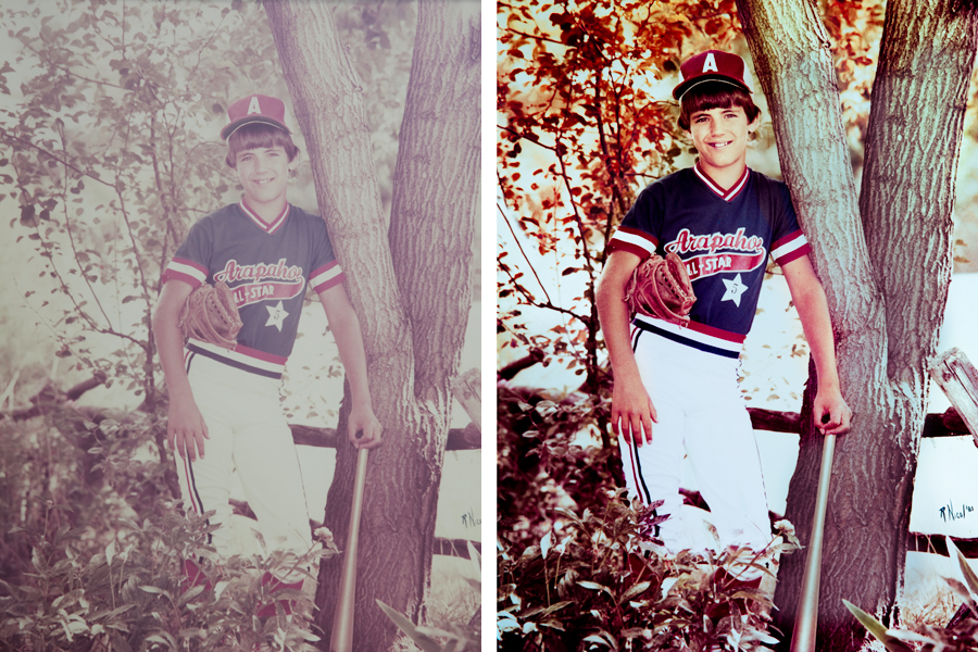 "This an example of a photograph restored by Brian Charles Steel photography.  This image was faded, and in need of color restoration. The restored photo depicts a young boy in a baseball uniform leaning against a tree. He is wearing a blue and red shirt that that reads ""Arapahoe All-stars. Under his left arm is a baseball glove.  His right hand is resting against the tree and holding the bottom of a baseball bat. The bat is vertical and leaning against the tree.  Directly behind him are small trees with leaves and a wooden fence."