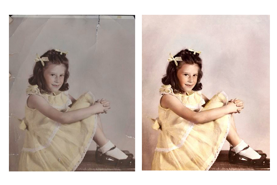 This an example of a photograph restored by Brian Charles Steel Photography.  The photo depicts a young girl sitting on a bench.  There is a light background behind her.  She is wearing a yellow church dress with matching bows in her long brown hair.  Her knees are bent, and she is wearing white socks with brown shoes.  The background is light brown.