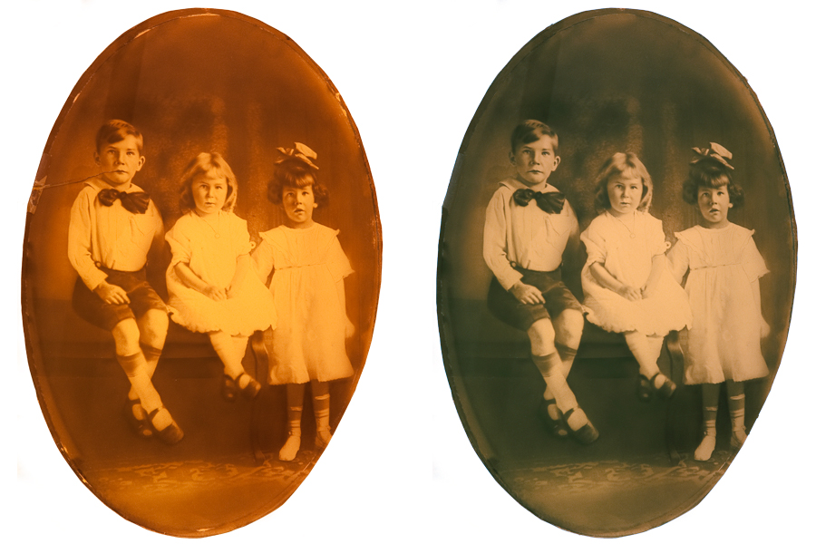This an example of a photograph restored by Brian Charles Steel photography. It is a black and white portrait of three children.  There is a boy and two girls.  The boy is on the far right and sitting next to one of the girls on a bench. The other girl is standing next to them.  They are dressed in church clothes.  The standing girl has a white bow in her hair.